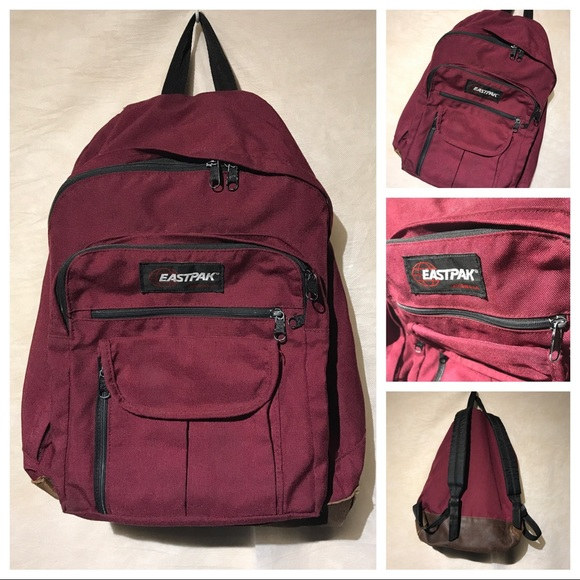 Eastpak Other - Vintage Eastpak Plum Leather Bottom Backpack A3315